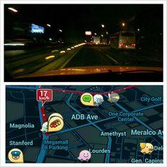 #waze この#カーナビ かなりの優れもの!! #渋滞 #ネズミ捕り #取締 #事故 色んな情報をユーザーがリアルタイムで登録して皆で共有できる。 さらにいいのが#日本語 #メニュー #音声 もある! そして#無料 Nice #apps which can #share #traffic #speeding #accident #information and it has #japanese #voice #navigatin too AND its #free #drive#roadtrip#car