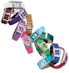 Rhinestone-Embellished Birthstone Color Strap Watches $14.99 each!