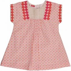 Dress Multi_ecru - Reference : ZAELIROBE Loose fit short-sleeved cotton print dress, fully lined with fine cotton poplin. Embroidered detail on neckline and sleeves. Full button fastening on back for easy slip-on. 100% cotton exterior and lining.
