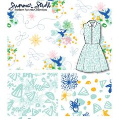 Summer Stroll (Day) - surface pattern collection by Adriana Hernandez (Adriprints)
