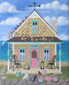 Seashell Sally's Cottage Folk Art Print by KimsCottageArt on Etsy