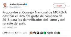 #DESTACADAS:  INE prohíbe a AMLO donar 41.1 millones de pesos de Morena a damnificados - Regeneracion