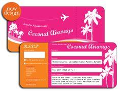 Barbados Wedding Invitation ticket style by www.DestinationStationery.com