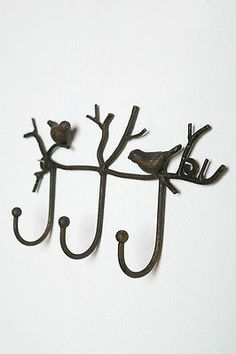 Anthropologie French Country Rustic Bronze Iron Bird Branch Wall Hook Rack New | eBay