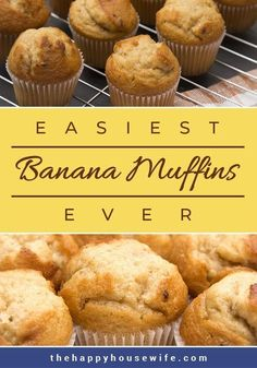 Easiest Banana Muffins This banana muffin recipe is a family favorite. You probably have all the ingredients in your pantry already. Have warm delicious muffins in less than 30 minutes. Köstliche Desserts, Delicious Desserts, Dessert Recipes, Yummy Food, Small Desserts, French Desserts, Italian Desserts, Cake Recipes, Healthy Muffins