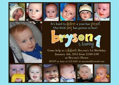 Year In Review Custom photo first birthday party invitation for boy or girl - picture each month. $12.00, via Etsy.