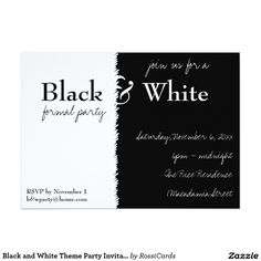 Black and White Party Invitation Pinterest Party invitations
