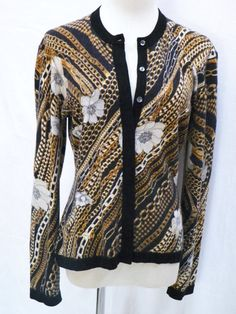 This button-down Cashmere sweater by Neiman Marcus is a plush, medium-weight cashmere with a hidden-button placket. In a gold chain print on black