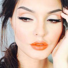 Eyes and orange lips