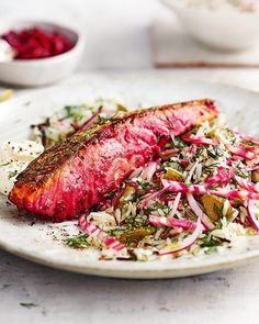Enjoy succulent, vibrant beetroot-marinated salmon alongside a hearty, flavoursome salad of rice, dill, dill pickles and more beetroot. Ready in less than 30 minutes – this recipe is midweek dinner perfection. Easy Salmon Recipes, Seafood Recipes, Cooking Recipes, Healthy Recipes, Fish Recipes, Recipies, Healthy Food, Beetroot Recipes, Rice Salad Recipes