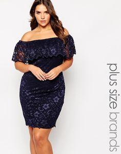 Lipstick+Boutique+Plus+Lace+Bardot+Pencil+Dress