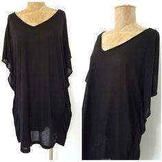 H&M Kaftan Dress Size Medium Sleeveless Black Beach Mini Caftan Sundress #HM #SummerBeach