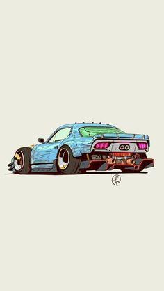 Car Illustration, Illustrations, Jdm Wallpaper, Drawing Wallpaper, Wallpaper Ideas, Cool Car Drawings, Tuner Cars, Futuristic Cars, Automotive Art