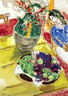 Marc Chagall Fruits et fleurs (ou Nature morte à Gordes). ~Via David Bondt Marc Chagall, Chagall Paintings, French Artists, Pablo Picasso, Art Plastique, Famous Artists, Art Forms, Les Oeuvres, Modern Art