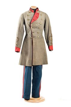 Uniform worn by Private Edward D. Robinson (Charleston, SC) of Captain G.H. Walter's Company (Washington Artillery), South Carolina Artillery. The unit surrendered to Federal forces at Greensboro, NC on May 1, 1865. Charleston Museum.