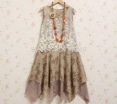 Mori girl vintage lace maglia patchwork ricamo vestito dal carro armato delle donne della novità abbigliamento vestido gonne lolita prendisole garza unico