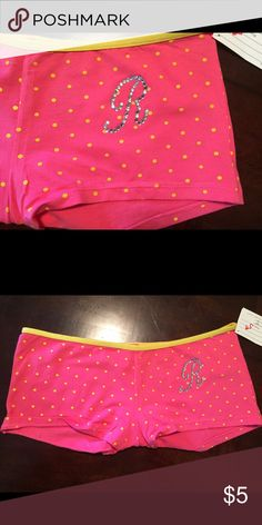 NWT POLKA DOT BOY SHORTS XL Super Sassy polka dot boy shorts with bling monogram R. Size XL, junior fit. Intimates & Sleepwear Panties