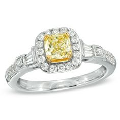 1 CT. T.W. Certified Cushion-Cut Yellow Diamond Frame Engagement Ring in 18K White Gold (P/SI2) - Jewelry Rings - Gordon's Jewelers $2989