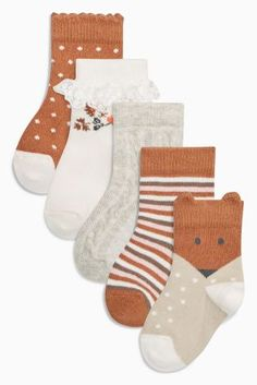 Buy Ecru/Brown Floral Socks Five Pack (Younger Girls) online today at Next: United States of America