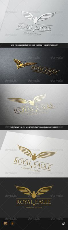 Royal Eagle Logo II #GraphicRiver This logo design for all creative business. Consulting, Excellent logo,simple and unique concept. Logo Template Features AI and EPS (Illustrator 10 EPS) 300PPI CMYK 100% Scalable Vector Files Easy to edit color / text Ready to print Font information at the help file: