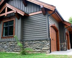 grey exterior house colors House Exterior Ideas Stone Gray New Ideas House Paint Exterior, Exterior Siding, Exterior House Colors, Exterior Design, Gray Siding, Stone On House Exterior, Exterior Paint Colors For House With Stone, Stone Front House, Stone Veneer Exterior