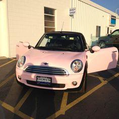 pink mini cooper. :) future car! :) fit for a princess.