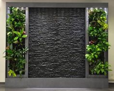 Water feature with greenery Indoor Waterfall, Vertical Garden Wall, Vertical Gardens, Water Walls, Walled Garden, Interior Garden, Room Interior, Stone Interior, Interior Design