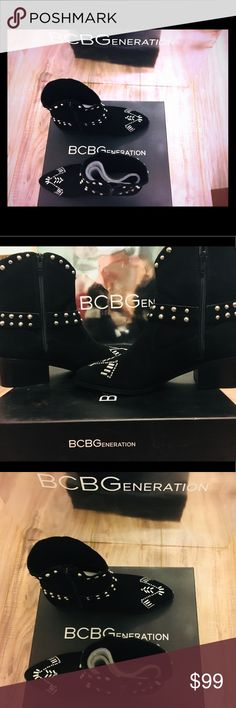 """BCBG Studded Lokki Moto Booties Boots Black Sale 7 100% Authentic item was purchased directly from Manufacturer * Cow Suede * Imported * Synthetic sole * Shaft measures approximately 7.25"""" from arch * Heel measures approximately 2"""" * Heel measures approximately 1.2"""" * Memory foam in the insole for extra comfort BCBGeneration Shoes Ankle Boots & Booties"""