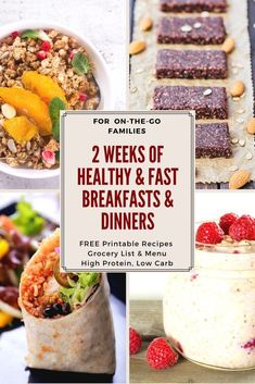 Back-to-School 2 week Recipe Bundle! High protein low carb super healthy breakfast that are PORTABLE! And dinners that are GF and Paleo friendly each can be made IN ADVANCE or in just minutes! Grocery list and Menu Planner Included (insert Happy Mom Low Carb High Protein, Best Protein, High Protein Recipes, Easy Healthy Recipes, Low Carb Recipes, Healthy Snacks, Easy Meals, Healthy Eating, Healthy Breakfasts