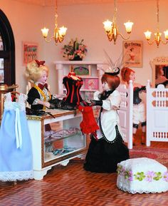 The corsetry department in the largest miniature department store in the world. Miniature Dollhouse Furniture, Vintage Dollhouse, Miniature Houses, Diy Dollhouse, Miniature Dolls, Dollhouse Miniatures, Barbie Doll House, Barbie Dolls, Crafts