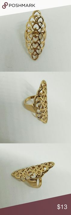 NWOT Filigree Design Fashion Ring New Never Worn. Filigree Design Fashion Ring. Gold-Tone in Color. Size 9. Makes a Beautiful Statement Ring. Jewelry Rings