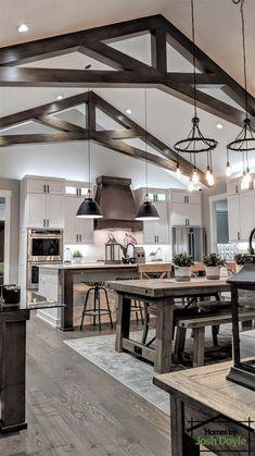 Rustic Home Design, Dream Home Design, My Dream Home, House Design, Barn House Plans, Dream House Plans, Kitchen Layout, Kitchen Design, House Goals