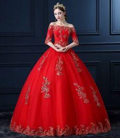 LUXURY WEEDING DUBAÏ DRESS / ROBE DE SOIRÉE MARIAGE ROUGE ORIENTAL BRODERIE