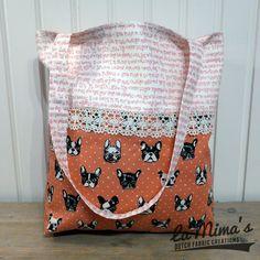 Tote bag French Bulldogs Pink - http://www.lamimas.nl/paws-up/tote-bag-french-bulldogs-pink.html#.U6iADqhElKo