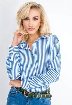 Dámska pruhovaná košeľa modrej farby - ROUZIT.SK Fashion Addict, Shirt Blouses, Outfit Of The Day, Button Up Shirts, Street Wear, Street Style, Stylish, Womens Fashion, Outfits