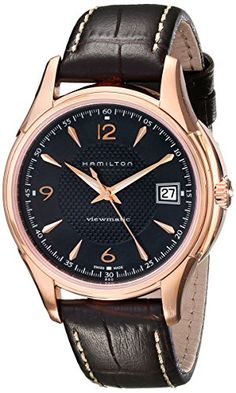 Men's Wrist Watches - Hamilton Mens H32445585 Jassmaster Viewmatic Black Dial Goldtone Watch >>> Click image to review more details. (This is an Amazon affiliate link)