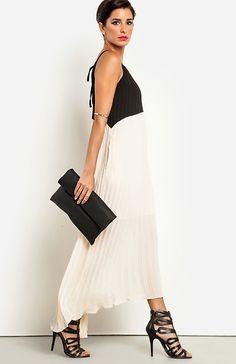 block pleated dress