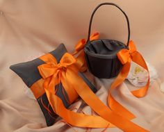 Custom Colors Flower Girl Basket and Ring by RomancingJuliet, $45.25