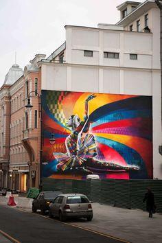 Street Art by Eduardo Kobra in Moscow, Russia – streetart Kobra Street Art, Murals Street Art, Street Art Graffiti, Mural Art, Wall Mural, Amazing Street Art, Best Street Art, Amazing Art, Street Art Utopia