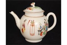 A late 18th Century Worcester Chinoiserie teapot of silver ovoid form decorated with polychrome e