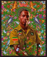 Kehinde Wiley: His portraits are based on photographs of young men who Wiley sees on the street. He painted men from Harlem's 125th Street, then South Central neighborhood where he was born. Dressed in street clothes, his models were asked to assume poses from the paintings of Renaissance masters.