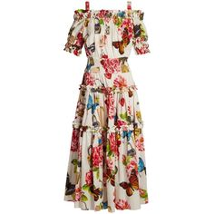 Dolce & Gabbana Butterfly and padlock-print off-the-shoulder dress (2708100 IQD) ❤ liked on Polyvore featuring dresses, white multi, white ruffle dress, off-the-shoulder dress, butterfly print dress, rainbow dresses and white off-shoulder dresses