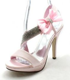 Ladies pale pink satin large diamonte strap and bow high heel wedding shoes  NEW 3686101eb