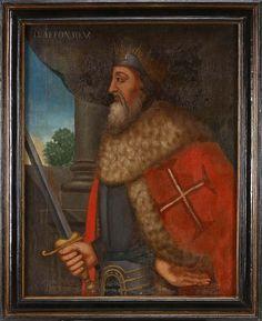 Dom Afonso V O Africano decimo segundo Rei de Portugal, filho de Dom Duarte I, e de Dona Leonor de Aragão, nasceu em Sintra a 15 de Janeiro 1432 e morreu em Lisboa a 28 de agosto de 1481. Reinou 1438-1477. casou com Dona Isabel de Coimbra (prima direita) em 1447 e depois casou com sua sobrinha Joana de Castela