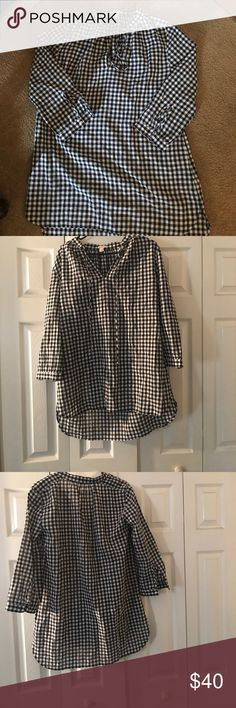 "J.Crew Black and white ""shirt dress"" Over sized black and white plaid summer shirt dress. Is very short in length and. I used it only once to sit by my pool. All cotton worn one the one time for about ten minutes! J. Crew Dresses Mini"