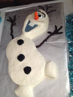 Olaf cake for Harley's Disney Frozen Party. Candy clay arms and facial features.