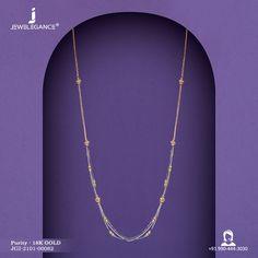 18k Fancy Chain (6.41 gms) - Plain Gold Jewellery for Women by Jewelegance (JGI-2101-00062) #myjewelegance #chain #multilayernecklace #goldchain #18kgold Bridal Jewellery, Gold Jewellery, Gold Chain Design, Multi Layer Necklace, Gold Earrings Designs, Designer Earrings, Indian Jewelry, Gold Chains, 18k Gold