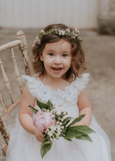 How cute - lovely flower crown and matching bouquet - perfect for a summer garden wedding. #FlowerGirl #WeddingInspiration