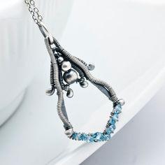 Blue Topaz Pendant  December Birthstone Jewelry  by sarahndippity