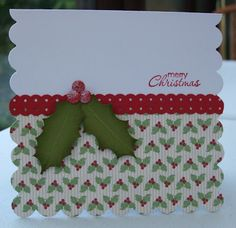 SU Petite Pairs - sentiment (sub), Holly Berry Bouquet Speciality DSP - sub my similar paper, Dotted Scallop Ribbon Border punch, holly leaves - oval and circle punches, berries - small circle punch*  case layout as A2  (Nov 17, 2011)